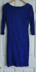 """ROMAN - Ladies Electric Blue Lace Double Lined Dress - Size 14 (36"""") - Used"""