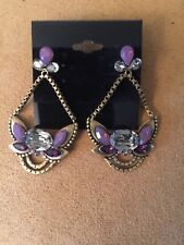 Silpada Signed KR Orchid  Ambience Swarovski Crystal Brass Dangle Earrings