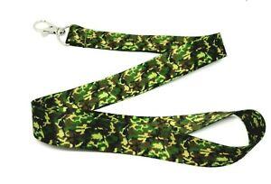 Green Brown Army CAMO Camouflage Pattern Lanyard Keychain KEY FOB ID Holder