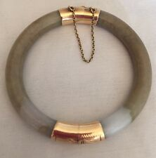 Natural Chinese Green Jade/Jadeite Bangle Bracelet 14K Yellow Gold EXCELLENT