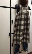 Kapital S Cotton Hemp Cedar Brown Combo Check Pin Tuck Dress