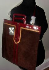 MAXX NEW YORK CHOCOLATE BROWN COWHIDE LEATHER LARGE TOTE HANDBAG RT384