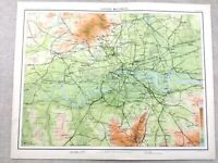 1890 Antique Map of London Rail Network Railway Routes 19th Century Original