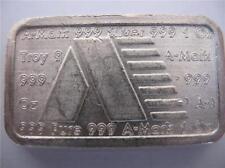 1-OZ. A-MARK PURE .999 PURE SILVER RARE 1981 USVI STACKABLE CHUNKY BAR + GOLD