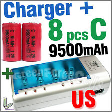 8 x C Size 9500mAh Battery + Rechargeable Charger D AA AAA 2A 3A 9V NIMH US Red
