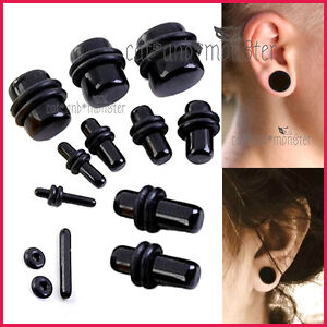 Black Ear Round Expander Stretcher Tunnel Set Kit Solid Flesh Taper Plug Earring
