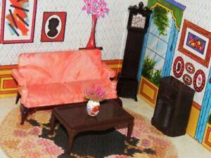 Vintage Ideal Dollhouse Living Room Fits Renwal 1:16