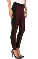 HUE Color Blocked Microsuede Leggings Winetasting Red Black NWT all sizes