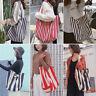 Striped Gym Hiking Picnic Travel handbags Shoulder Canvas Tote Bag for women men