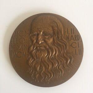 Léonard de Vinci par Raymond Joly Médaille en Bronze 1968 Diamètre 8 cm