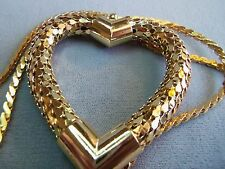 LARGE GOLD PLATED MESH HEART PENDANT LONG NECKLACE estate jewelry