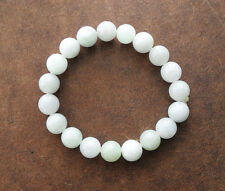 Natural Beautiful Jadeite Jade Stretchy Bangle Bracelet 50mm Round Beads White A