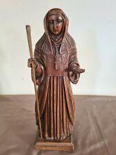 Ancienne statue Religieuse en bois sculpté 36 cm de hauteur