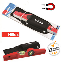 "HILKA 10"" MAGNETIC 250mm Mini Cast Aluminium Scaffold Level 2 vials with Holster"