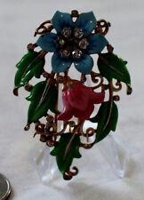 Vintage Alfred Philippe Crown Trifari Enamel Flower Rhinestone Clip Brooch Gold