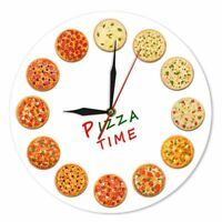 Kitchen Wall Art Clock Pizza Patterned Dining Room Home Decorations Watch Clocks
