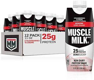 Muscle Milk Genuine Protein Shake, Strawberries 'N Crème, 11 Fl Oz, 12 Pack