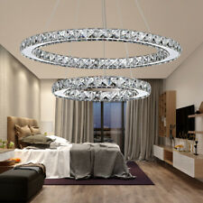 Modern Galaxy Crystal Chandeliers LED Ring Light Pendant Ceiling Lamp Cool White