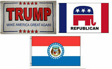 3x5 Trump White #2 & Republican & State of Missouri Wholesale Set Flag 3'x5'