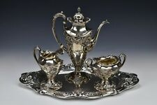 4 Piece Reed & Barton Sterling Silver Coffee Tea Set Repousse Poppy Pattern