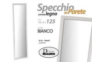 SPECCHIO CON CORNICE IN LEGNO COLORE BIANCO DA PARETE 34*2*125 CM TCO-796425