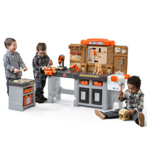 Workshop and Utility Bench Kids Pretend Play Workbench  75-Pieces Power Tools