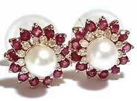 14K Y Gold 1.36 CTS Ruby & Diamonds White Akoya Sea Round Pearl Stud Earrings
