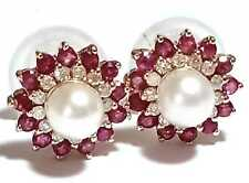 14K Y Gold 1.36 CTS Ruby & Diamonds White Akoya Sea Round Pearl Stud Earrings