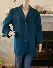 VTG WOMENS SIZE 12 SOFT WOOL JACKET COAT LINED ELEMENTS SPIEGEL MADE USA TEAL