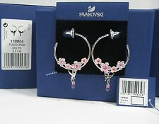 Swarovski Cherry Blossoms Hoop Pierced Earrings Tinker Bell Pink Crystal 1155534