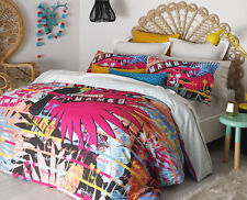 MAMBO TROPICS PINK Girls Surf Design Double Bed Size Doona Duvet Quilt Cover Set