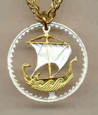 Cyprus 5 Mils Viking Ship Cut Coin Gold on Silver Pendant + Necklace Gift Item