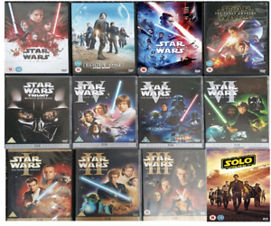STAR WARS COMPLETE MOVIE EPISODE 1-9 DVD COLLECTION 1 2 3 4 5 6 7 8 9 UK Release