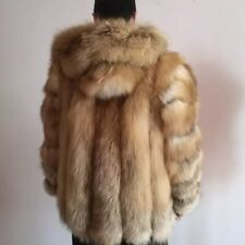 Luxury 100 % Real Fox Fur Coat With Hood- Unisex-Medium Size