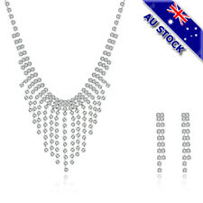 925 Sterling Silver Plated CZ Crystal Tassel Necklace Earring Bridesmaid Set