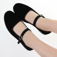 Womens Chinese Mary Jane Shoes Ballerina Work Velvet Fabric Flats Cotton Sole
