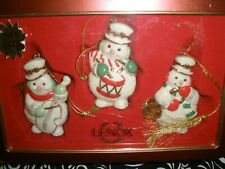 2003 Boxed Set Of 3 Lenox Classic Ivory/Gold Snowmen Christmas Ornaments ~T1671