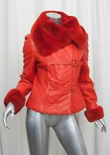 ESCADA Womens Red-Orange Leather Quilted Rabbit Fur Moto Jacket Coat 38/6 S