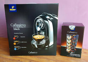 stylische Tchibo Cafissimo Compact Kapselmaschine schwarz mit Kapselspender NEU