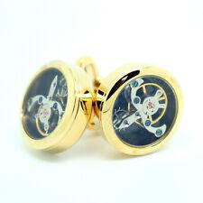 Cufflinks Tourbillon Gold Coloured Steampunk Watch Mechanism Wedding Cuff Links