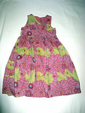 Lovely MOTHERCARE lime green & pink floral PARTY DRESS 6-7 yrs
