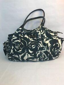 Kate Spade Floral Diaper Bag Black White Purse Genuine New York