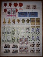 (P) Germany West 1970s, 8 large pages of blocks of 4 stamps, MNH. see photos.