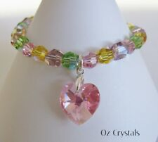 Candy Bracelet made with Swarovski Elements, Heart Charm & Solid Sterling Silver