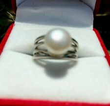 VINTAGE TERLING SILVER WHITE 8 mm PEARL  RING~Size 6.25 Restored