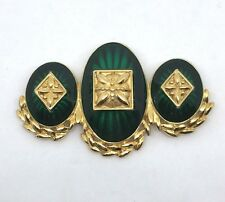 VTG Signed Monet Emerald Green Glass/acrylic Gold Plated Statement Brooch J162