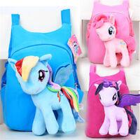 Kids Baby Girls Unicorn Cartoon Plush Wing Backpack School Rucksack Bags Pony