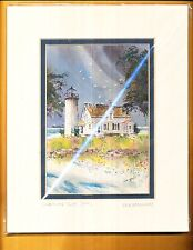 LOU McMURRAY WATERCOLOR PRINT SIGNED LIGHTHOUSE CHARITY IS. LT. (1945)