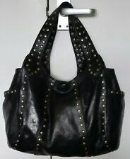 GRAND SAHARA HANDMADE BLACK STUDDED LEATHER UNDERARM/SHOULDER/TOTE/GRAB BAG