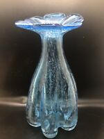 Vintage Mid-Century Unique Bubble Blue Flower Top Vase Blown Glass Art